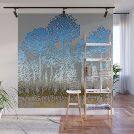 Blue and white forest Wall Mural