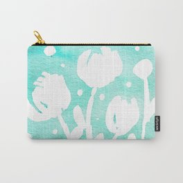 Whimsical watercolor flowers – turquoise Carry-All Pouch