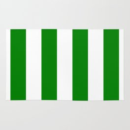 Vertical Stripes - White and Green Rug