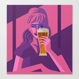 woman drinking beer Canvas Print