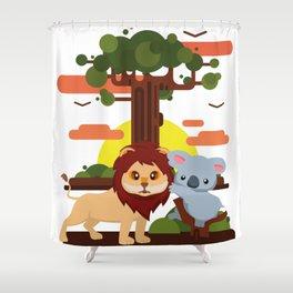 Leo lion & Koalina Shower Curtain