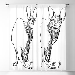 Sphynx Cat Illustration - Sphynx - Cat Drawing - Naked Cat - Wrinkly Cat - Black and White Blackout Curtain