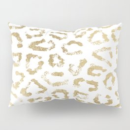 Modern white chic faux gold foil leopard print Pillow Sham