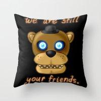 fnaf Throw Pillows featuring FNAF Freddy Fazbear by Bloo McDoodle