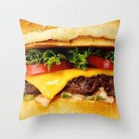 burger Throw Pillows featuring Burger by Jamie Danielle