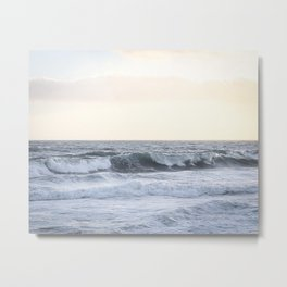 Sea Waves Modern and Vintage Beach Aesthetic Photography of Artsy Light Yellow Pink Sky Metal Print