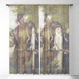 Tudor Romance - Henry VIII and Anne Boleyn hunting Sheer Curtain