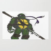 ninja turtles Area & Throw Rugs featuring Ninja Turtles Donatello by minusblindfold