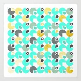Retro mint and gold circle pattern Art Print