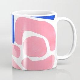 Colorful Minimalist Mid Century Modern Shapes Pink Ultramarine Blue Yellow Ochre Tribal Maze Pattern Coffee Mug