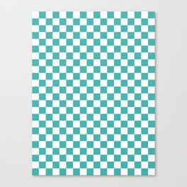 Small Checkered - White and Verdigris Canvas Print