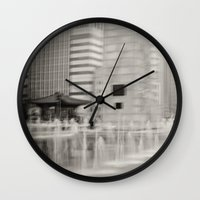seoul Wall Clocks featuring Abstract Seoul by Zayda Barros