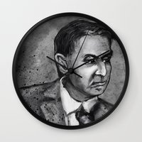 carl sagan Wall Clocks featuring Carl Sagan by Wesley S Abney