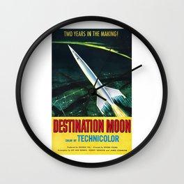 Destination Moon, vintage movie poster Wall Clock