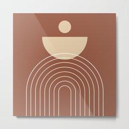 Mid Century Modern Geometric 16 (Terracotta and Beige) Metal Print