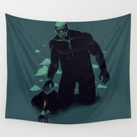 attack on titan Wall Tapestries featuring shadow of the titan by Louis Roskosch