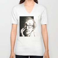 woody allen V-neck T-shirts featuring Woody Allen by Frances Roughton