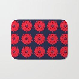 Japanese Samurai flower red pattern Bath Mat