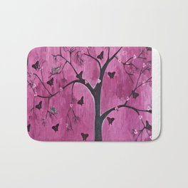 Coexistence Tree Art Acrylic Abstract painting by Saribelle Bath Mat