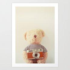 Teddy bear and camera Art Print