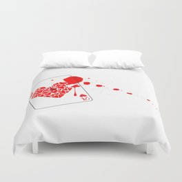 Ace of Hearts With Blood Duvet Cover