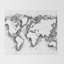 Watercolor splatters world map in grayscale Throw Blanket