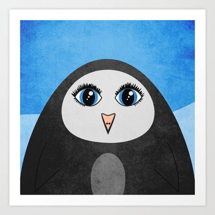 Cute Geometric Penguin Art Print