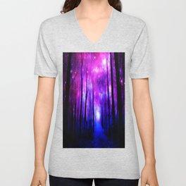 Magical Forest Path Fuchsia Purple Blue Unisex V-Neck