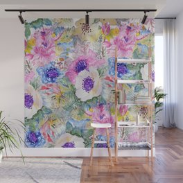 Abstract floral sketch watercolor hand paint. Wall Mural