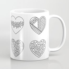 Tiny Hearts and Patterns, Adult Coloring Pattern Coffee Mug