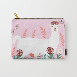 Pink Llama with Flowers Carry-All Pouch