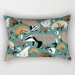 Eurasian badgers pattern teal Rectangular Pillow