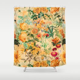 Vintage & Shabby Chic -  Sunny Gold Botanical Flowers Summer Day Shower Curtain