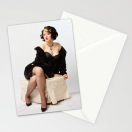 """Fur Coat #1"" - The Playful Pinup - Sexy Vintage Pinup in Fur Coat by Maxwell H. Johnson Stationery Cards"