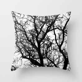 icy branches in black and white Throw Pillow