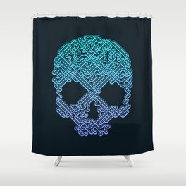 Labyrinthine Skull - Neon Shower Curtain