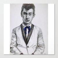 alex turner Canvas Prints featuring Alex Turner  by Art by GeorgieH