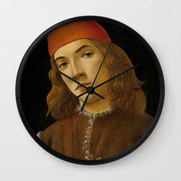 "Sandro Botticelli ""Portrait of a Young Man"" (I) Wall Clock"