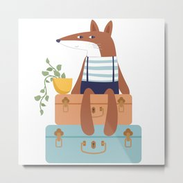 Fox on Vacation Metal Print