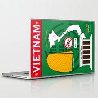 vietnam Laptop & iPad Skins featuring Vietnam Hanoi by Vintage Deco Print Posters
