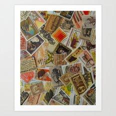 Vintage Postage Stamp Collection - Orange Art Print
