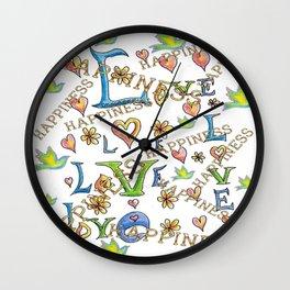 Love Joy Happiness Wall Clock