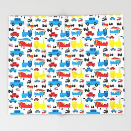 Cute Colorful Planes, Trains and Cars Pattern Throw Blanket