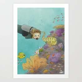 Coral Reef Scuba Diving Adventure Art Print