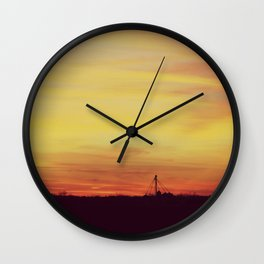 Winter Sunset Midwest Wall Clock