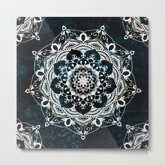 Glowing Spirit Mandala Blue White Metal Print