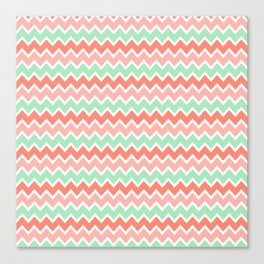 Coral Orange and Peach Pink and Mint Green Chevron Canvas Print