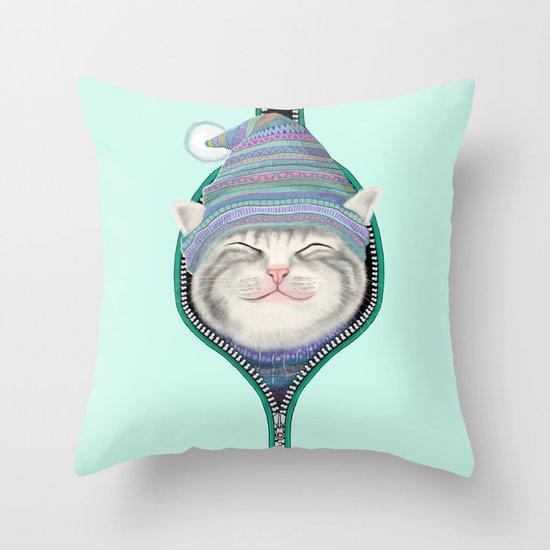 Cat in the zip Throw Pillow
