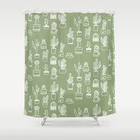 cactus Shower Curtains featuring Cactus  by Chee Sim