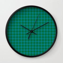 Teal Green and Cadmium Green Diamonds Wall Clock